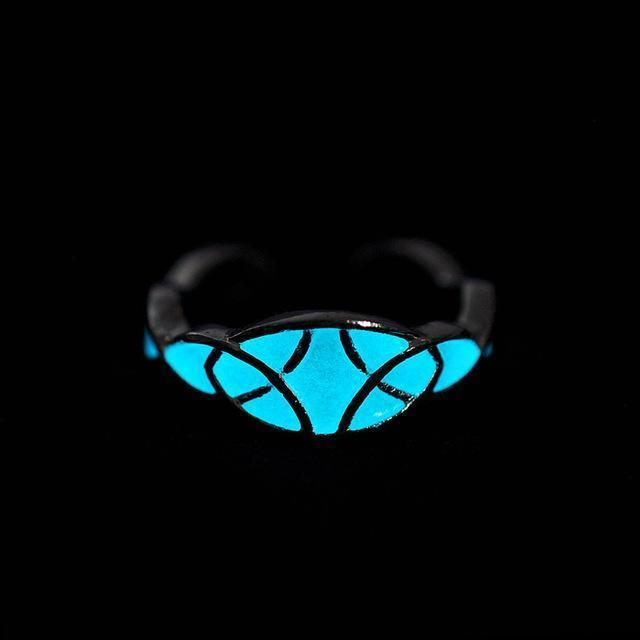 Mayan Mysterious Night Light Glowing Stone Rings