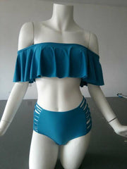 Split Large Ruffled Shoulder Bikinis B206 - gopowear.com
