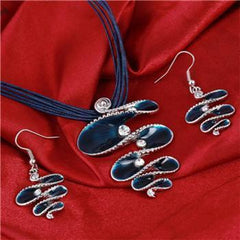 Leather Rope Chain Jewelry Sets J1016 - gopowear.com
