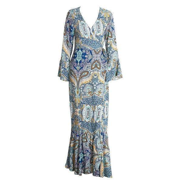 36484dffefc Floral print split beach summer v neck kimono sexy dress sash wrap maxi  dresses - gopowear