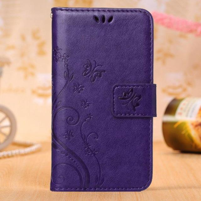 Butterfly Pattern Leather Wallet Case For iPhone - gopowear.com