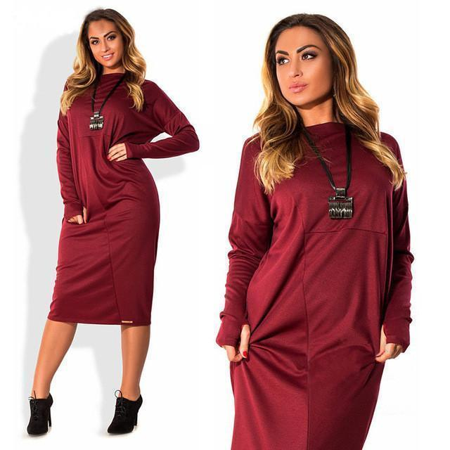 Elegant Solid Long Sleeve Casual Loose Party Shift Office Plus Size Dress 6XL - gopowear.com
