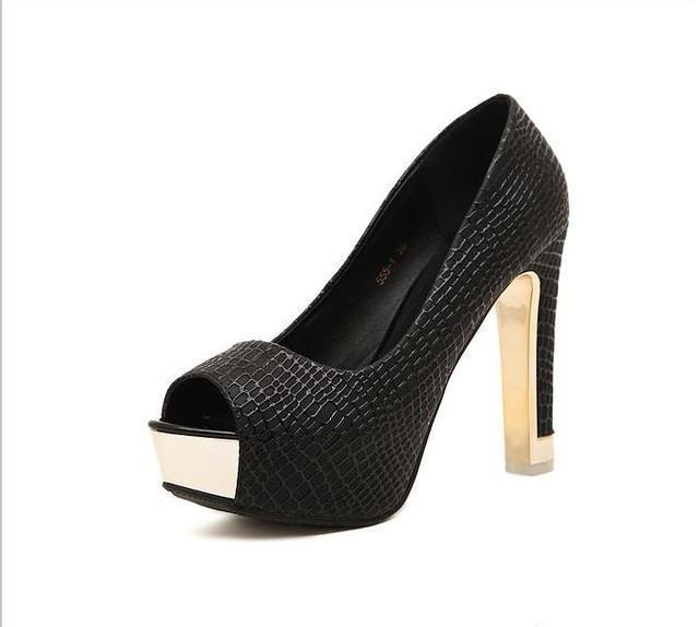 Sexy peep toe simple pumps square high heels - gopowear.com