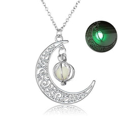 Glowing Crescent Moon Necklace - gopowear.com