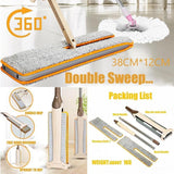 Wooden Double Sided Microfiber Floor Flat Mop with Non Hand Washing