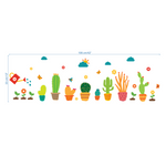 Cactus Bonsai Potted Flower Plants Wall Stickers