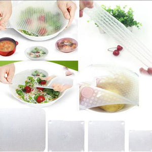 4 Pcs Reusable Silicone  Food Fresh Keeping Saran Wrap/cover