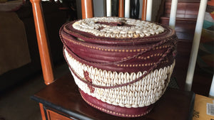 Leather and cowrie shell Storage Basket