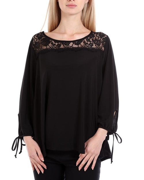 Black Lace Shoulders Plus Size Blouse