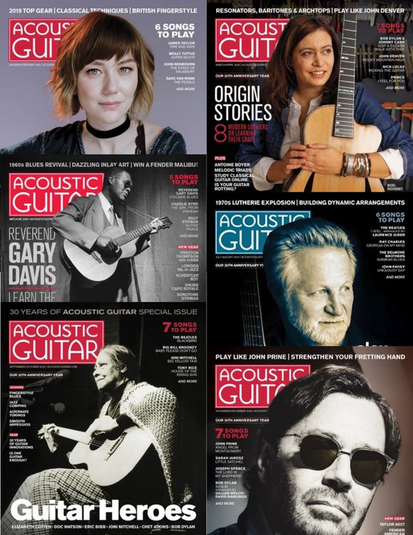 Grid showing 6 cover images for bi-monthly issues of Acoustic Guitar magazine published in the year 2020
