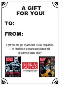 Gift Subscription Acknowledgment Card Acoustic Guitar