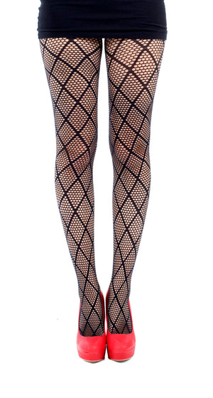 Large Diamond Net Tights-Black