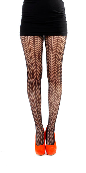 CHEVRON KNIT TIGHTS BLACK ONE SIZE