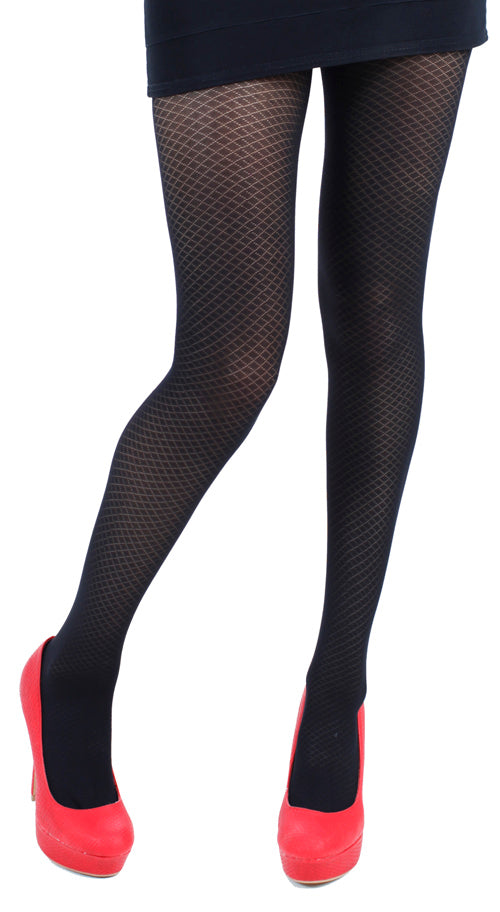 CRISS CROSS OPAQUE TIGHTS BLACK