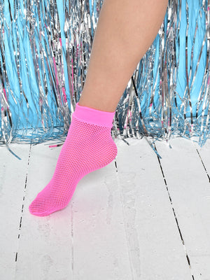 FESTIVAL FISHNET FLO PINK ANKLE SOCKS