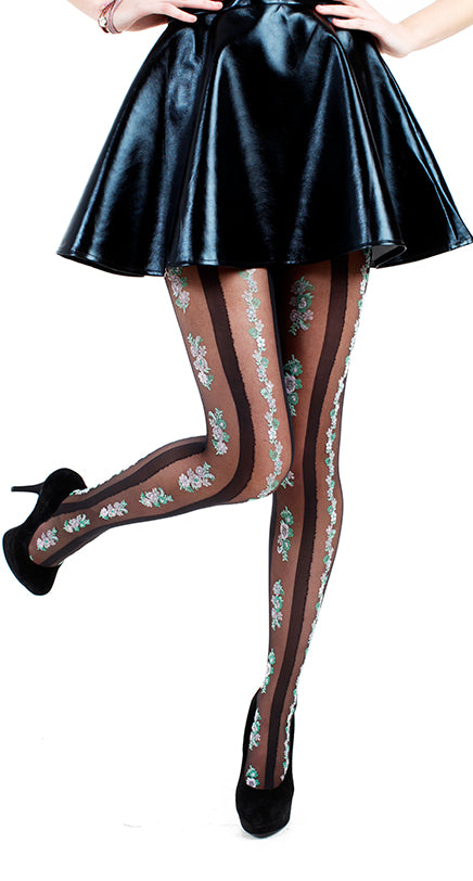 FLORAL STRIPE TIGHTS BLACK ONE SIZE