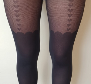 HEART SEAMED SUSPENDER TIGHTS BLACK ONE SIZE