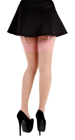 JIVE DOTTY SEAMED STOCKINGS NUDE/PINK ONE SIZE
