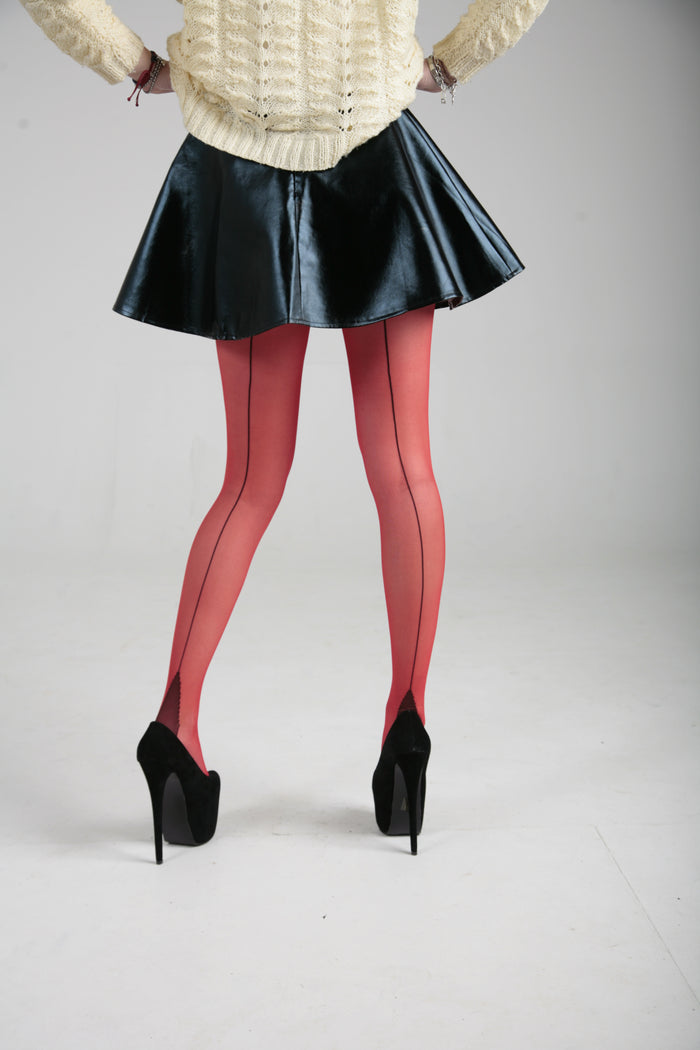 JIVE SEAMED TIGHTS RED/BLACK ONE SIZE