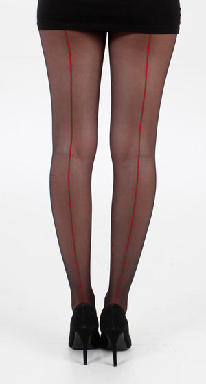 JIVE SEAMED TIGHTS BLACK/RED ONE SIZE