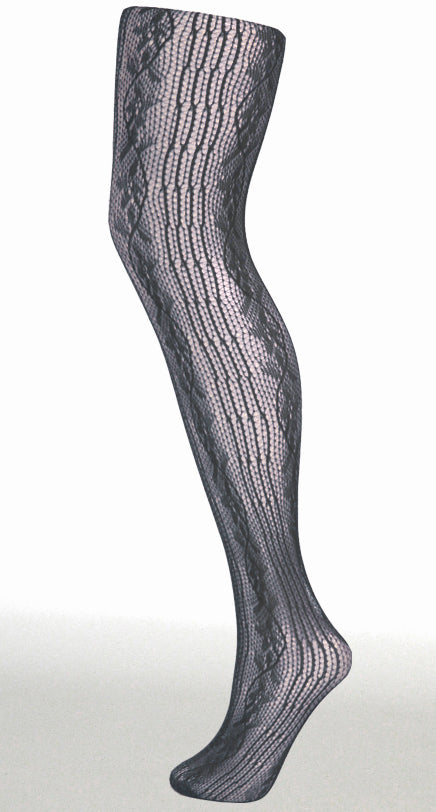 LINES AND CURVES TIGHTS BLACK ONE SIZE