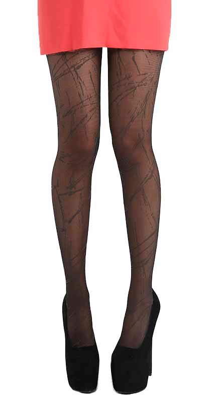 SHEER SPLASH TIGHTS BLACK ONE SIZE