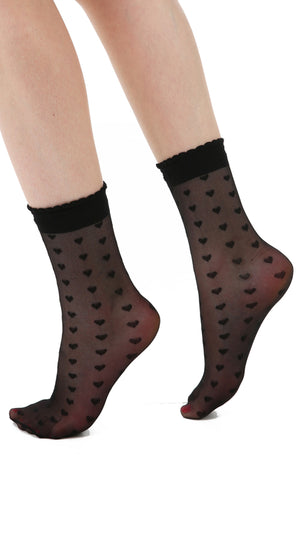 SHEER HEART ANKLE SOCK WITH FRILL BLACK