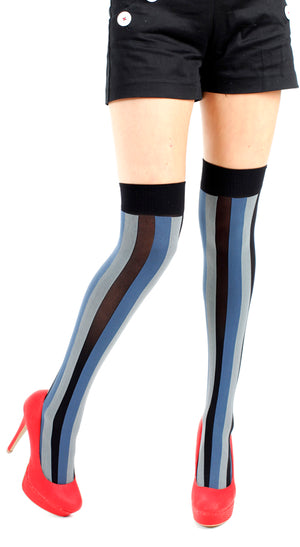 VERTICAL STRIPE OVER KNEE SOCK BLUE GREY