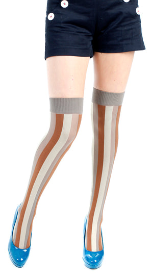 VERTICAL STRIPE OVER KNEE SOCK BEIGE BROWN