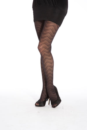 ZIG ZAG WAVE TIGHTS BLACK ONE SIZE