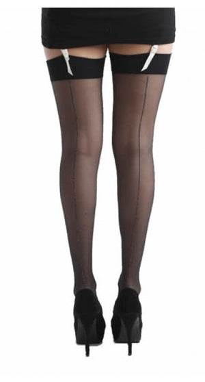 JIVE SEAMED STOCKINGS BLACK/SILVER