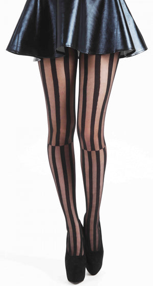 MISMATCH STRIPE TIGHTS BLACK ONE SIZE