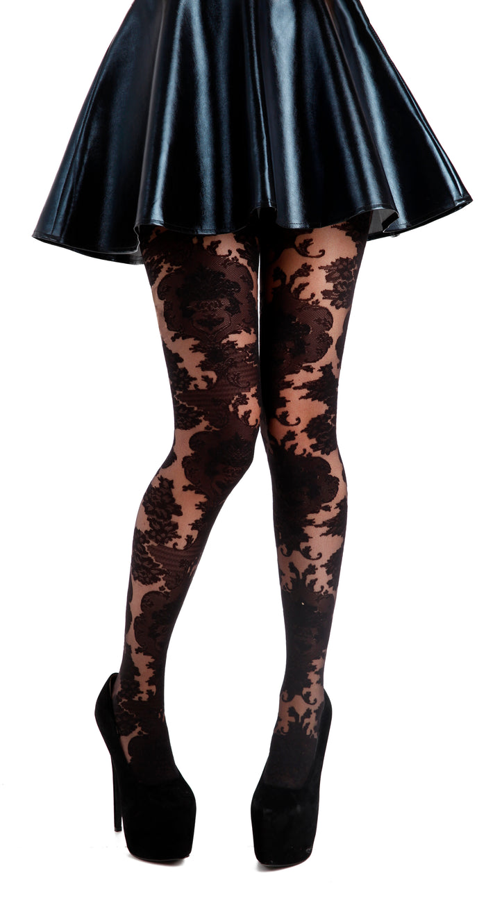 ORNATE LACE TIGHTS BLACK ONE SIZE