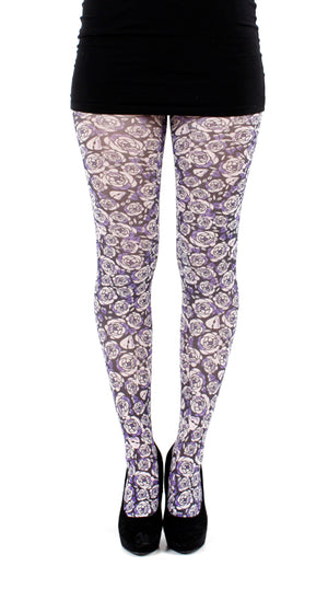 PURPLE ROSE PRINTED TIGHTS ONE SIZE