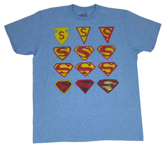 DC Comics Men's T Shirt Superman Man of Steel Logo History Graphic Tee