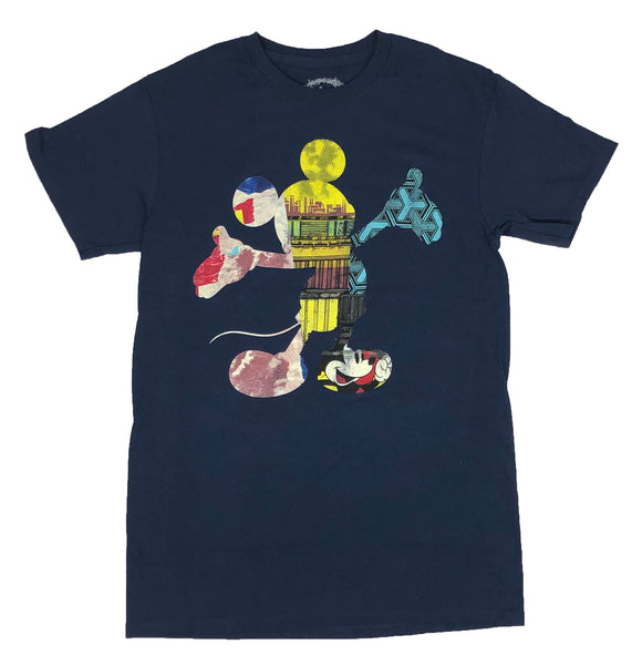 Disney Men's T Shirt Mickey Mouse Retro Colorful Outline Graphic Tee