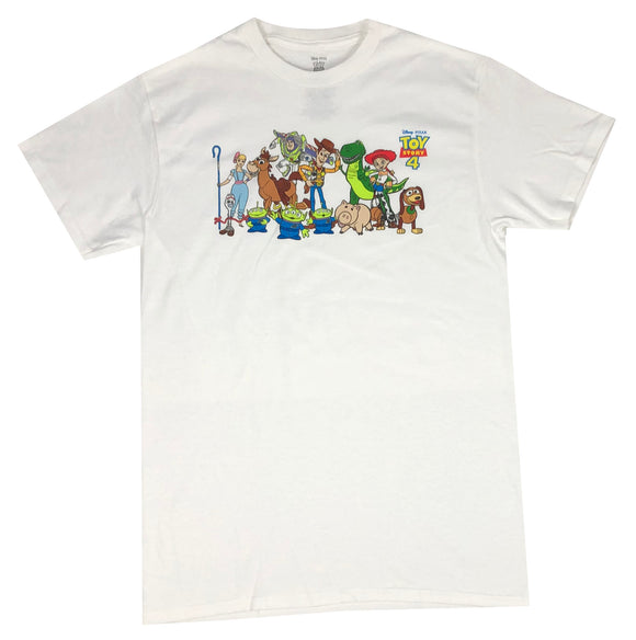 Disney Men's T Shirt Toy Story 4 Cast Logo Woody Buzz Disneyland Graphic Tee