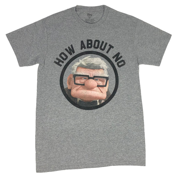 Disney Men's T Shirt UP Movie Carl Fredricksen How About No Grumpy Old Man Tee