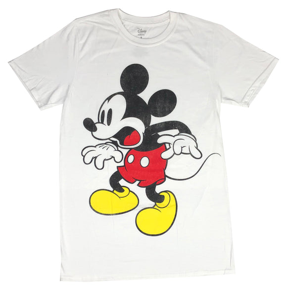 Disney Men's T Shirt Mickey Mouse Surprised Portrait Distressed Graphic Tee