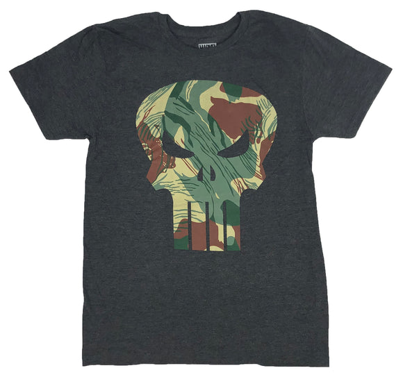 Marvel Men's T Shirt The Punisher Camo Logo Comic Book Retro Graphic Tee - tshirtconnect