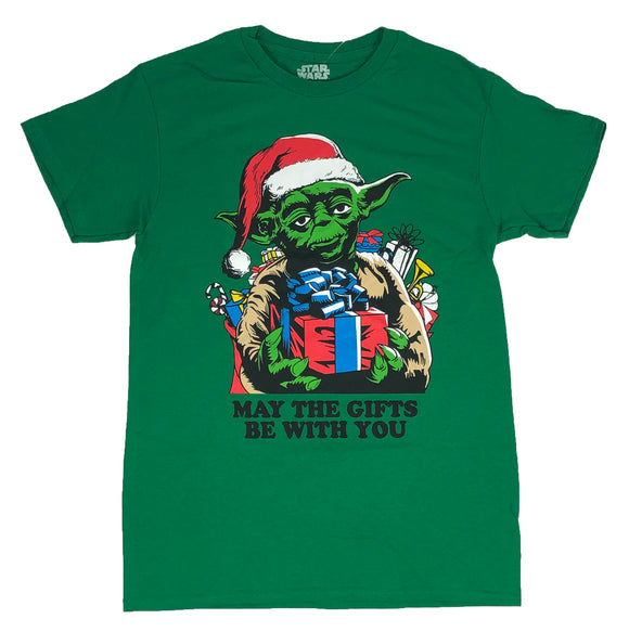 Star Wars Men's T Shirt Yoda May The Gifts Be With You Christmas Holiday Xmas - tshirtconnect