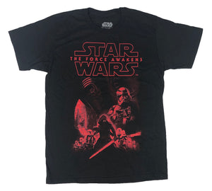 Star Wars Men's T Shirt Kylo Ren Stormtroopers Red Poster Graphic Tee - tshirtconnect
