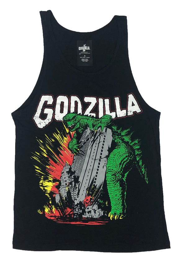 Godzilla Men's Tank Top Destroying Skyscrapers Comic Style Vintage Movie - tshirtconnect