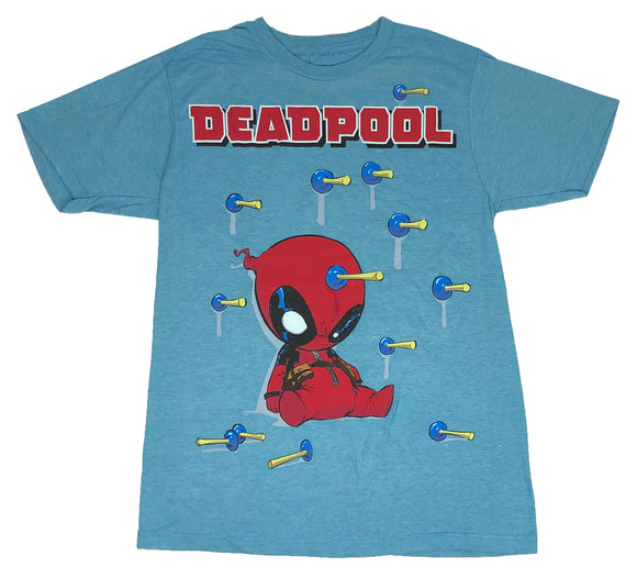 Men's Marvel T Shirt Deadpool Plastered With Darts Graphic Tee