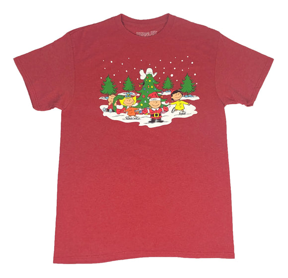 Men's Peanuts T Shirt Charlie Brown Christmas Ice Skating Linus Lucy Sally Tee
