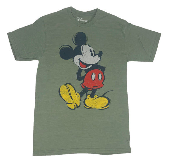Men's Disney T Shirt Mickey Mouse Distressed Retro Portrait Disneyland Tee