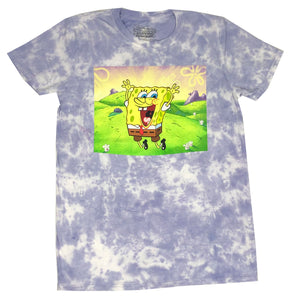 Nickelodeon Men's T Shirt Spongebob Squarepants Jump For Joy Tie Dye Tee
