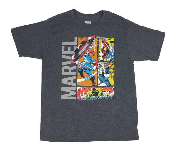 Marvel Avengers Men's T Shirt Comic Scenes Hulk Spider Man Iron Man Cpt America - tshirtconnect