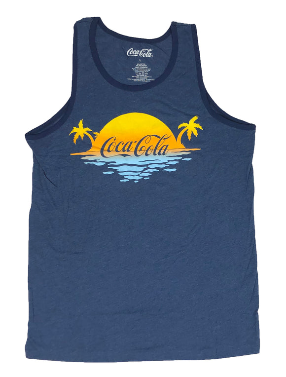 Coca Cola Men's Tank Top Coke Tropical Sunset Summertime Graphic Tee - tshirtconnect