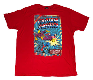 Marvel Captain America Men's T Shirt King Sized Retro Comic Book Cover Graphic - tshirtconnect